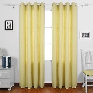 deconovo 窗帘纯 recycled 棉质索环窗帘适用于客厅