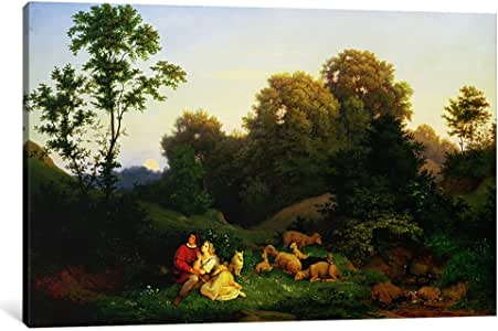 "iCanvasART 1 件德国风景中的牧羊犬和牧羊犬,1844 年帆布印刷品,由 Ludwig Adrian Richter 创作,30.48 厘米 x 20.32 厘米/1.91 厘米深 12"" x 8""/0.75"" Deep BMN3367-1PC3-12x8"