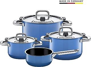 Silit喜力特锅具套装,4件套,天然蓝色。金属控制盖,德国制造,Silargan®希拉钢功能性陶瓷材质,适合电磁炉使用,洗碗机可洗