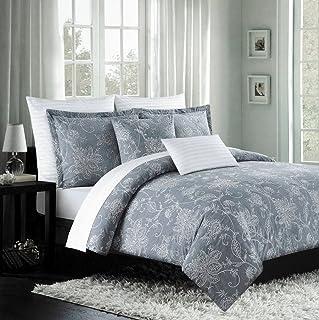 Nicole Miller 豪华刺绣羽绒被套套装 灰色白色华丽灰色花卉卷纹设计 300TC 棉 3 件套床上用品套装 灰色 Queen 5956100
