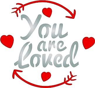 You are Loved Stencil - 可重复使用的情人节谚语报价爱意墙模板模板 - 用于纸质项目剪贴簿日记墙地板织物家具玻璃木等 S 43396-153317