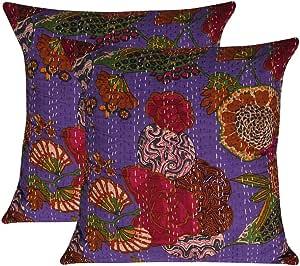 MyCrafts 16 X 16 印度民族波西米亚一套 5 个装饰性彩色棉方形沙发套装家居装饰水果设计波西米亚抱枕套 Kantha 靠垫套 Purple 2pc Combo 16 X 16