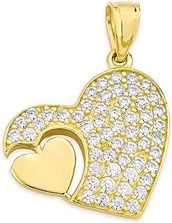 10k 纯金心形吊坠 镶方晶锆石,浪漫珠宝适合特殊场合的爱情饰品