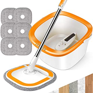 MASTERTOP 旋转拖把和水桶套装 6 件额外填充 360 度专业易拧微超细纤维拖把和水桶地板清洁系统(橙色)