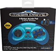 Retro-bit Official Sega Mega Drive 8-Button 2.4Ghz Wireless Arcade Pad For Mega Drive Mini Console, Sega Mega Drive Console,