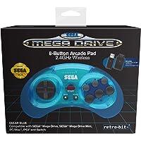 Retro-bit Official Sega Mega Drive 8-Button 2.4Ghz Wireless Arcade Pad For Mega Drive Mini Console, Sega Mega Drive Console, PC, Switch, macOS, Playstation 3, Steam (Clear Blue)