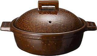 长谷制陶(Nagatani Seitou) 陶锅 茶色 1200ml 长谷园 天鹅绒蒸锅 美国(2-3人用) NCK-25