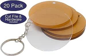 *钥匙链的亚克力圆圈和硬件和剪切文件   亚克力钥匙链空白各种颜色和尺寸   0.32 厘米铸造亚克力   由 My Local Maker 在美国制造 透明 2in - 20 pack AB-KEY-CIRCLE