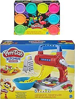 Play Doh Kitchen Creations 面条派对玩具套装 + Play Doh 8 包霓虹彩泥