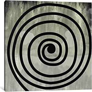 "iCanvasART 1 Piece Mid Century Modern Art- Black Swirl Canvas Print by Icanvas, 26 by 26""/0.5"" Deep"