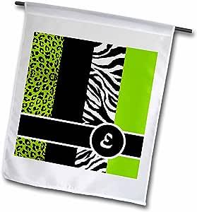 janna salak 设计交织字母系列–优雅动物印花字母组合–绿色 E–旗帜 12 x 18 inch Garden Flag