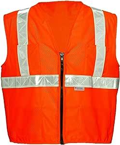 """ok-1拉链风格橙色背心–白色镶边 橙色 5XL (60"""" +)"""