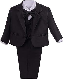 Lito Angels 男婴正装西装经典修身婚纱套装 5 件套