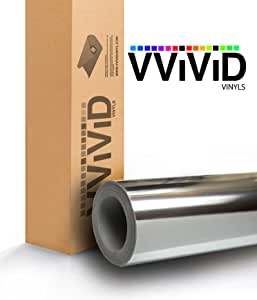 VViViD 银色镜面镀铬乙烯基包装自*贴花无气泡无气泡 3 毫米厚 .5ft x 5ft 银色 vvslvrchrom_