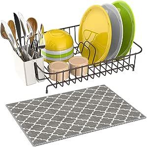 带餐具架的 iSPECLE 餐具排水架,超细纤维餐具干燥垫带餐具架线,适用于厨房台面,白色镶钻防锈餐具支架,13.8 x 10.6 x 3.5 英寸 Classic Bronze Coating_02