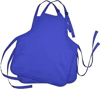 DALIX 围裙商业餐厅家居围嘴涤纶棉厨房围裙(3 个口袋) 皇家蓝 常规 APN-002-Royal-Blue-(2-Pack)