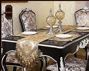 现代奢华提花面料花卉锦缎工作台 RUNNERS 和梳妆台围巾带 multi-tassels ,客户订单