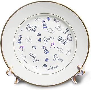 3dRose Lens Art by Florene - 婚礼和订婚 - 婚礼投掷排版图案新娘新郎 - 盘子 (cp_311363) 白色 8 inch Porcelain Plate cp_311363_1