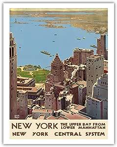 """美国纽约太平洋岛屿艺术 - 下马哈顿的上海湾 - 纽约港 - 纽约*系统 - 莱斯利·达尔雷尔·拉贡·拉坦复古铁路旅行海报 c.1920s - 精美艺术印刷品 11"""" x 14"""" APB4142"""
