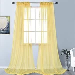 """KEQIAOSUOCAI 2 片纯色透明杆套窗帘 适用于卧室客厅 奶油黄色 52""""x95"""" CSCS-15-CREAMYELLOW-52X95"""
