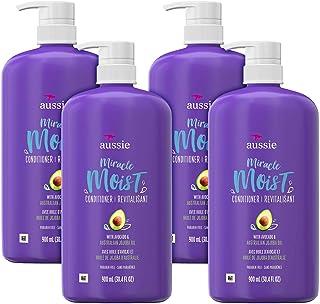 Aussie Miracle 滋润水养护发素 适合干枯发质 含牛油果和荷荷巴油 不含对羟基苯甲酸酯 30.4液体盎司/900毫升(4件装)