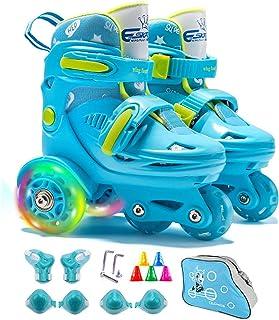 4-Pejiijar 可调节轮滑轮女孩和男孩轮滑轮(5-12岁) - 滑轮滑轮滑轮 - 蓝色