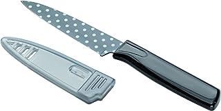 KUHN RIKON 瑞士力康 22443 Colori Art CA Polka Dot 系列刀具 波点水果刀 黑色蔬菜刀 不锈钢 防粘涂层 19.5 厘米*刀鞘。