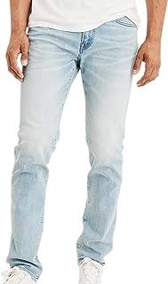 American Eagle 男式 5051915 Ne(X) t Level 修身直筒牛仔裤,水洗浅蓝色