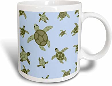 3drose janna salak 设计 Under the Sea–可爱海龟设计绿色和蓝色–马克杯 白色 15 盎司