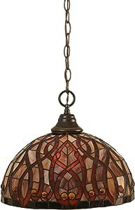 Toltec Lighting 链式吊灯,带 38.1 厘米的波斯尼尼蒂芬尼玻璃 12.25