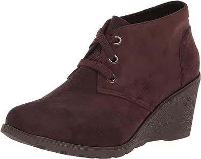 Skechers 斯凯奇 BOBS 女式 Tumble Weed-Urban Rugged。 麂皮坡跟短靴 W *泡沫及踝靴 巧克力色 7.5 M US
