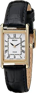 Seiko 女士皮革表带太阳能礼服手表