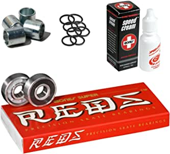 Bones Super Reds 轴承,8 个装,带垫圈,速度环和速度霜