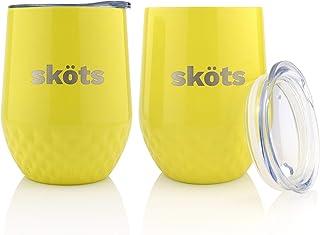SKÖTS 不锈钢酒杯(2 只装)- 双层真空保温旅行玻璃杯 - 采用高级 18/8 级不锈钢制成 - 无汗、不易破碎,不含 BPA 柠檬黄