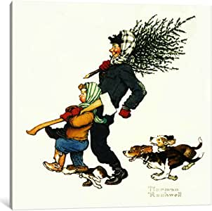 "iCanvasART Bringing Home The Tree Canvas Print by Norman Rockwell, 26 by 26""/0.75"" Deep"