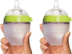 Comotomo可么多么 奶瓶 绿色5 Ounces (150ml) 两只装(美国品牌)[跨境自营]包税【跨境自营】