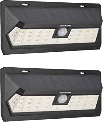 Mr Beams Solar Wedge Max 30 LED Security Outdoor Motion Sensor Wall Light, 2-Pack, Black
