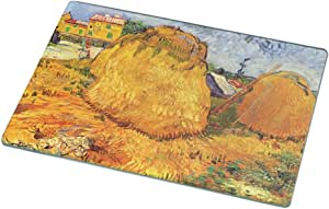Rikki Knight RK-LGCB-1397 Van Gogh Art Haystacks in Provence2 Glass Cutting Board, Large, White