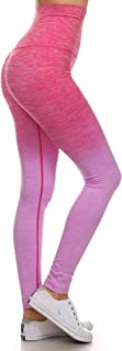 女式锻炼训练紧身裤 渐变色段染高腰收腹运动瑜伽裤 紧身裤
