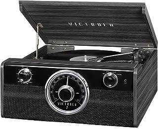 Victrola 木质 Metropolitan 中世纪现代蓝牙唱片播放器,3 速转盘和收音机