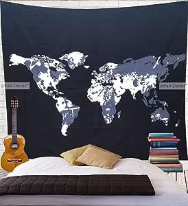 fairdecor 迷幻挂毯壁挂曼陀罗波西米亚毯波西米亚棉床单野餐床单毯墙壁艺术嬉皮挂毯 *蓝 215 X 235 Cm WM36