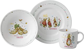Wedgwood Peter 兔子盘,碗和杯子3件套,精美骨瓷,粉红色
