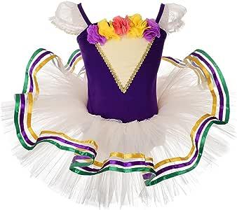 Dressy Daisy 女童玫瑰丝带饰边芭蕾舞短裙舞蹈服花式连衣裙