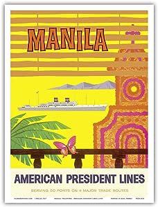 """太平洋岛艺术马尼拉,菲律宾 - 美国总统路线 - 复古海边旅游海报 c.1958 - 艺术版画 9"""" x 12"""" PRTA4535"""