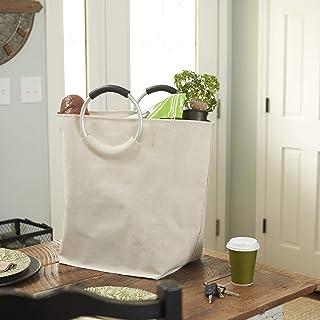 Household Essentials 2275 Krush 椭圆洗衣篮袋带圆形铝制环手柄 - 白色