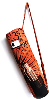 流行手工艺品 印度 Om 锻炼瑜伽垫便携包托特包全拉链带肩带扎染袋嬉皮砖印花瑜伽垫包橙色