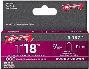 Arrow Fastener 187 7/16in. T18 Genuine Low Voltage Staples 1,000 Pieces 25-Pack