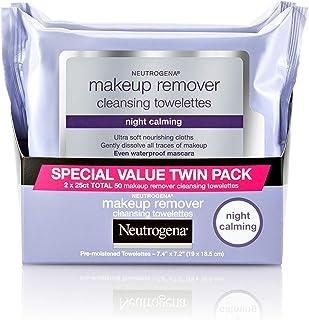 Neutrogena 露得清 夜间卸妆清洁毛巾纸,用于去除污垢,油脂和化妆品的一次性夜间面部湿巾,25 ct,双包