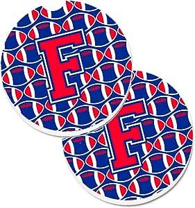 Caroline's Treasures 字母 F 橄榄球哈佛红宝石和耶鲁蓝两件套杯垫汽车杯垫 CJ1076-FCARC,2.56,多色