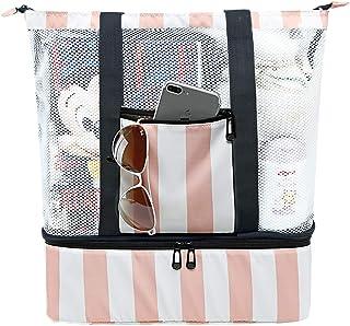 沙滩手提包 冷却器 大号 网眼 沙滩包 女士 超大 泳池包 野餐 粉色条纹 超大